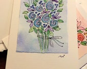 "Flower Bouquet In Lavender Blues Original Watercolor Card ""Small Card"" 3.5 "" x 4.75""  Stramore Canvas Card betrueoriginals"