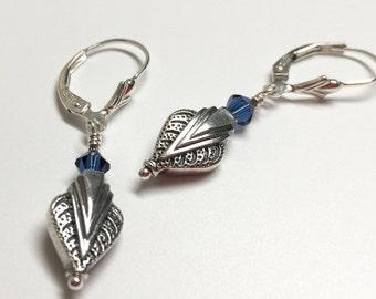 Art Deco Silver & Blue Earrings