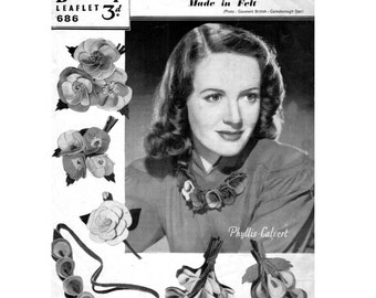 Craft Pattern 1940s  Buttonholes and Necklaces in Felt  Brooch Corsage Wedding WWII Jewelery Jewellery