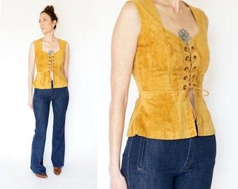 vintage 70s bohemian VELVETEEN lace up CORSET sleeveless top M