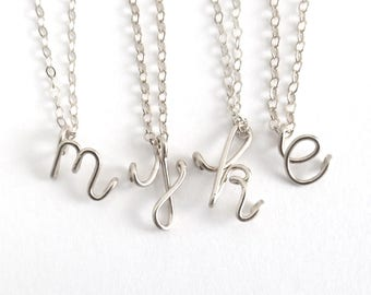 Initial Pendant. Sterling Silver Lowercase Letter Pendant. 925 Sterling Silver Initial Necklace. Alphabet Necklace. Teen Girl Gift Under 50