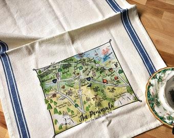 Peninsula Map Kitchen/Tea Towel