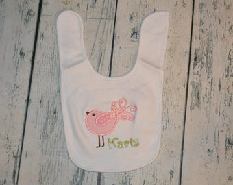 Personalized Baby Girl  Bib, Monogram Bird Bib