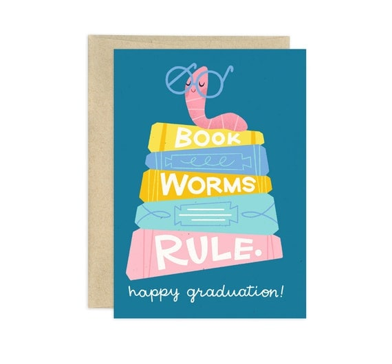 Bookworms Rule Illustrated Greeting Card