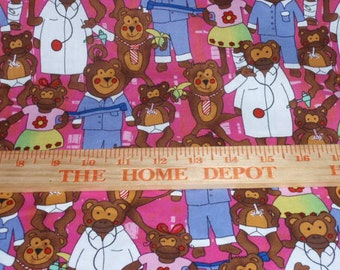 """Lauren Lee Bears and Doctors 100% Cotton Fabric 44"""" Wide  Sold by the Yard"""