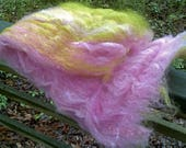 Pink Tea Rose Batt--Hand Spinning Batt--Domestic Wool, Romney Locks, and Silk Sliver--Two Ounces--Plant Dyed