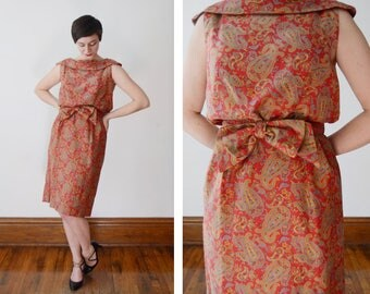50s/60s Red Paisley Dress with Bow Belt - M