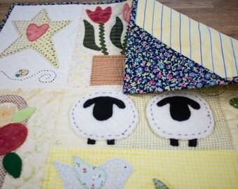 Mini quilt/ Patchwork wall art/Handmade mini quilt/Wall hanging/ Country life mini quilt/Country home decor/Quilt panel/Sheep quilt/Spring