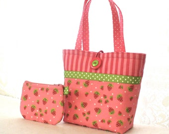 Strawberry Festival Kids Purse Little Girls Purse Coin Purse Set Fabric Mini Tote Bag Childs Bag Lime Pink Red Strawberries MTO