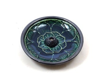Lotus Incense Burner Handmade Raku Ceramic Pottery