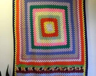 Crochet granny square 60s / 70s hippie festival picnic  blanket