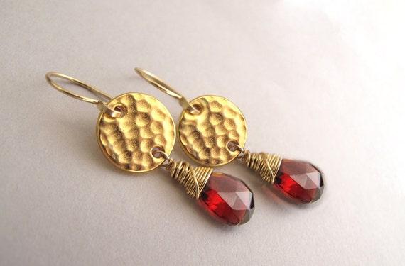Gold Garnet Drop Earrings, January Birthstone Earrings, Garnet Earrings, Garnet Gold Earrings, Gold Garnet Earrings, Valentine Jewelry
