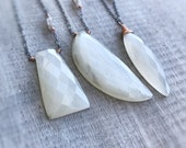 Moonstone Necklace, Rose Gold Necklace, Grey Moonstone Pendant, Sterling Silver Necklace, Gift for Women