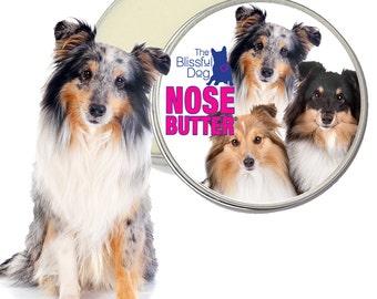 Shetland Sheepdog ORIGINAL NOSE BUTTER® Handcrafted All Natural Balm for Dry Crusty Dog Noses 1 oz, 2 oz or 4 oz Tin with Sheltie Label