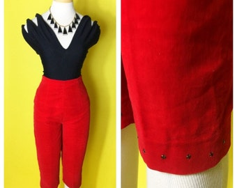 Vintage 1950s Red Velveteen Capris Clamdiggers with Rhinestones XS/S Koret of California
