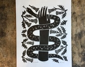The Healer   Fine art relief print of snake, hand and thistles on paper