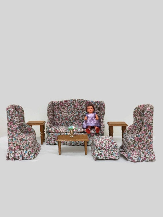 Vintage Miniature Living Room Set - 7 Pieces - Couch, Chairs, Foot Rest, End Tables, Coffee Table  - Concord Miniatures for Dollhouse