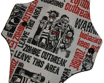 Moderate Hemp Core- Zombies Flannel Reusable Cloth Maxi Pad- WindPro Fleece- 10 Inches (25.5 cm)