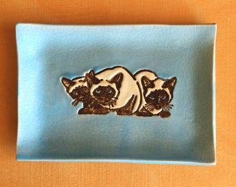 Ceramic SIAMESE CATS Soap Dish - Handmade Blue Porcelain Cat Dish - Multipurpose Dish - Ready To Ship
