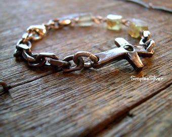 Sideways Cross Bracelet  -  Ancient Roman Glass Bracelet  -  Sterling Silver Chain Bracelet  -  Green Roman Glass  -  SimpleeSilver Jewelry