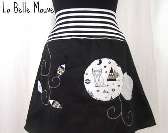 Skirt black and white fox apache