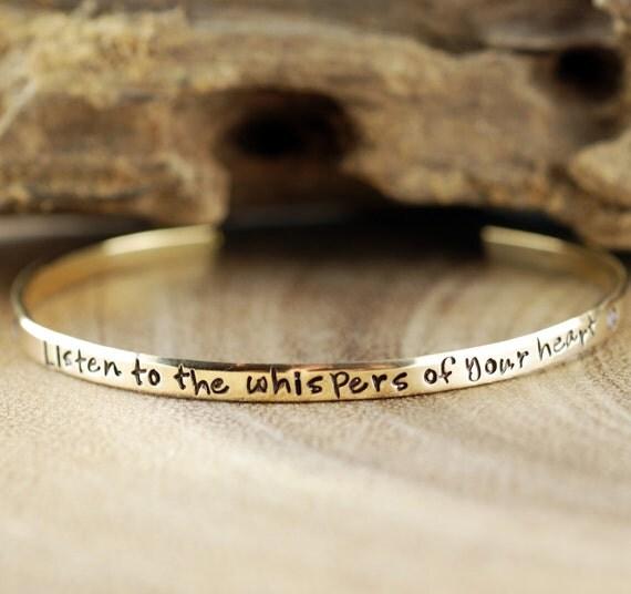 Lotus Flower Bracelet, Yoga Gift, Cuff Bracelet, Skinny Cuff, Inspirational Bracelet, Listen to the Whisper of your Heart, Yoga Bracelet