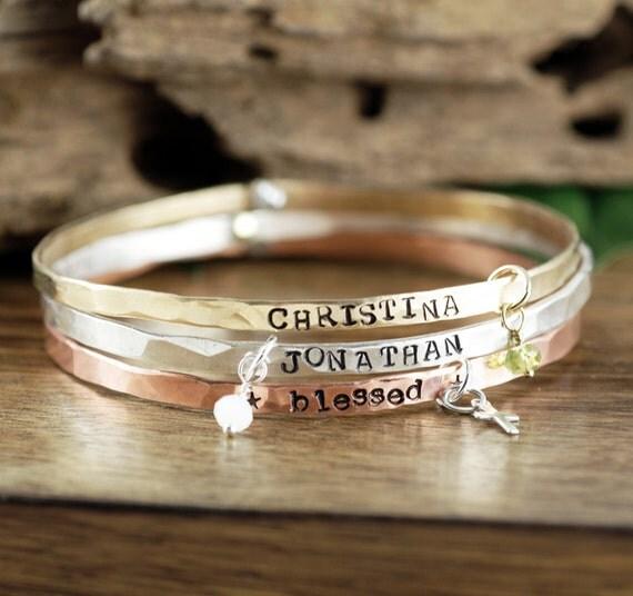 Custom Name Bracelet, Mothers Bracelet, Stackable Bracelets, Mothers Day Gift, Custom Bangle Bracelet, New Mom Jewelry, Charm Bracelet