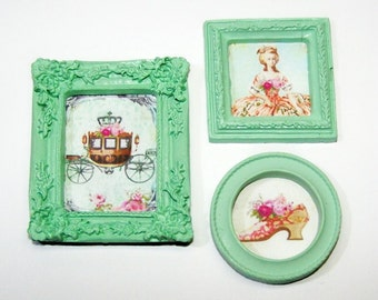 Dollhouse Decor, Miniature Pictures, Dollhouse, Marie Antoinette, Paris, Roses, Carriage, Crown, Mint, Green, Mini Home Decor, Artwork