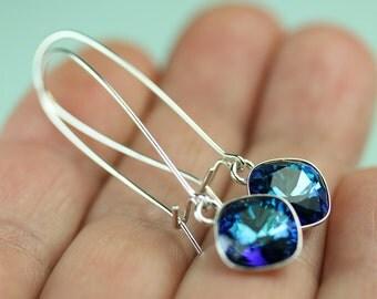 Bermuda Blue Swarovski crystal dangle earrings on long kidney ear wires all sterling silver, gift for her under 30 dollars, art4ear, blue
