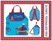 SALE 28 Fonts- Toddler Boy's Nautical CRAB Quilted Blue Backpack or Diaper Bag Personalized- Monogrammed FREE