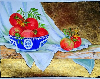 Impressionist 18 x 24 Watercolor Painting Still Life Gold Leaf GARDEN TOMATOES Art Lynne French