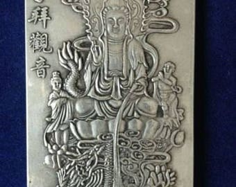 Tibetan Miao Silver Quan Yin Goddess of Mercy Buddhist Altar Meditation Thangka Talisman Amulet