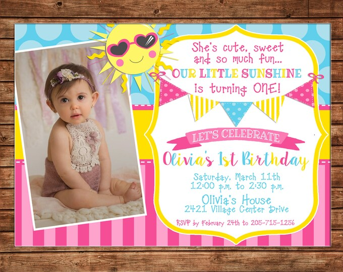 Girl Little Sunshine Sun Summer Pool Photo Picture Bunting Birthday Invitation - Customize haircolor/skincolor - DIGITAL FILE