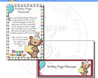 Birthday Magic Pillowcase Card and Topper - Digital Printable- Immediate Download