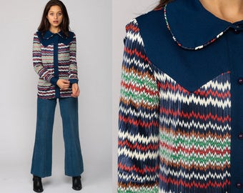 Striped Blouse 70s Shirt PETER PAN Collar Mod Long Sleeve Top Zig Zag Print Boho Disco Hipster Button Up 1970s Collared Navy Blue small