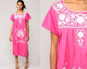 Mexican Dress EMBROIDERED Midi Hippie Boho 80s Ethnic Tent Bohemian Floral Cotton Tunic Traditional Hot Pink Large