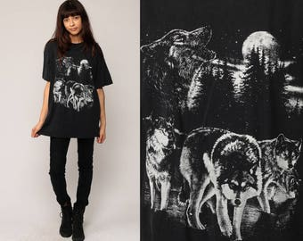 WOLF TShirt Animal T Shirt Wolf Pack 80s 90s Graphic Tshirt MOON Tree Forest Black White Hipster Screen Print Retro Large