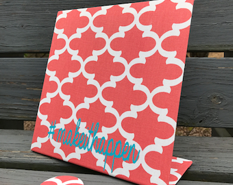 "Make It Happen, Magnetic Board, Hashtag Personalized,  Magnetic Memory Board, Coral Quatrefoil, Desktop, Personalized,(10"" x 10"""