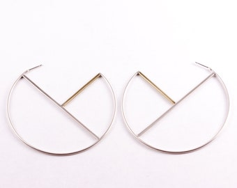 Geometric mixed metal hoop earrings