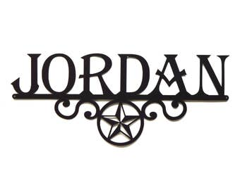 Personalized Star Scroll Metal Art Sign - Free USA Shipping
