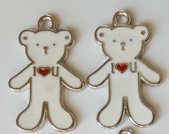 Bear Charms Enamel - White (4)