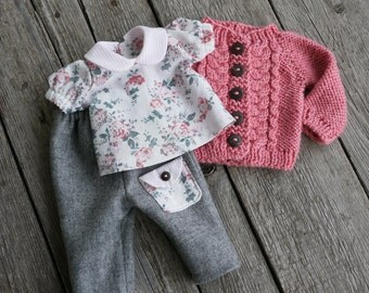 Waldorf Girl Doll Clothes - Trousers, Blouse & Sweater fit 15,16 inch dolls grey, coral, pink, white