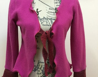 Wool Mix Tie Front Cardigan Knit Tunic  Recycled Upcycled Med Cerise