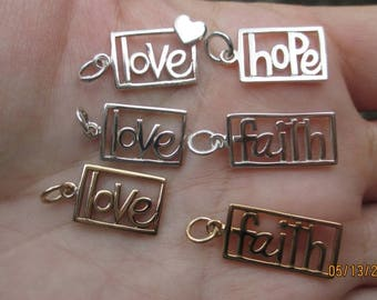 Sterling Silver or Bronze Love Charm, Faith, or Hope