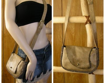 "Tan leather crossbody purse, & bronze embossed suede 9"" x 6"" x 2"", adjustable strap 44"" to 49"", ball button , one inside pocket"