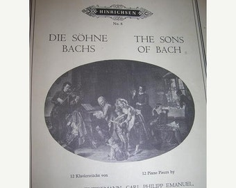 SALE- The Sons of Bach, 12 piano pieces, Hinrichsen no. 8/Vintage Sheet Music