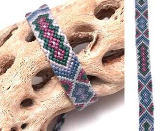 Friendship bracelet - handmade - knotted - macrame - woven - string - thread - embroidery floss - diamond - blue - purple - tribal