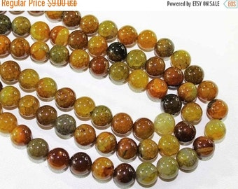 """HOLIDAY SALE 7"""" Gemstone STRAND - Agate Beads - 12mm Smooth Rounds - Amber Brown, Orange, Yellow, and Olive (7"""" strand ~15 beads) - str1200"""