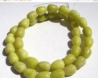 CLEARANCE SALE LOOSE Gemstone Beads - Peridot Jasper - 10mm Egg Teardrops - Chartreuse, White (6 beads) - gem742