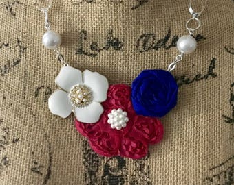 Fuschia, Blue, and White Fabric Flower Statement Necklace with  Flower Brooch, Rolled Rosette, Bridesmaid Gift, Bridal Party